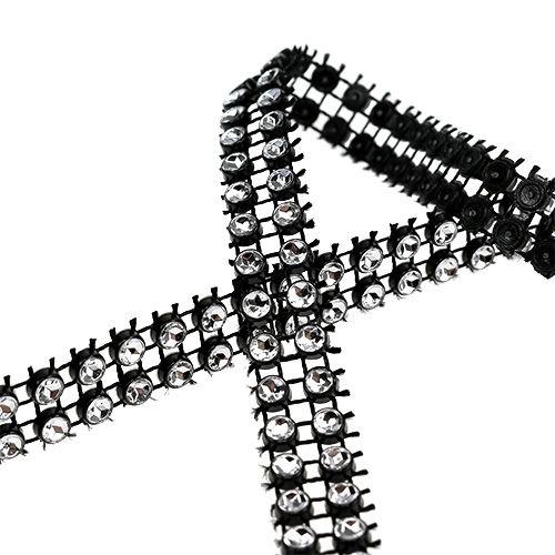Dekoband Schwarz, Silber 10mm 4m