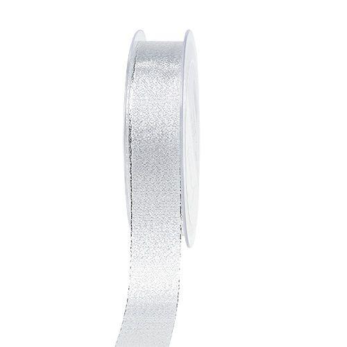 Dekoband Silber mit Glimmer 25mm 20m