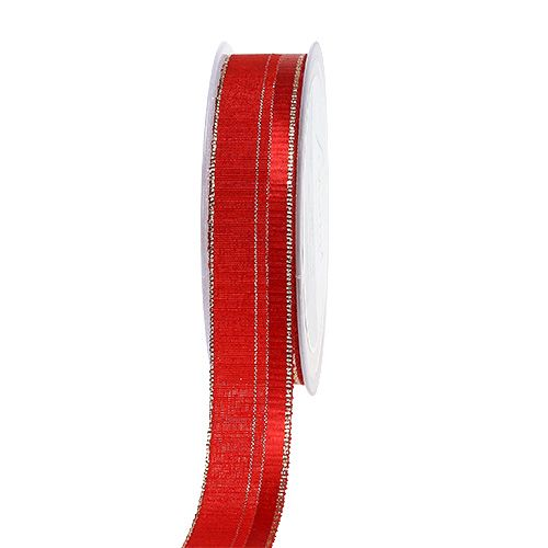 Dekoband Weihnachten Rot, Gold 25mm 20m