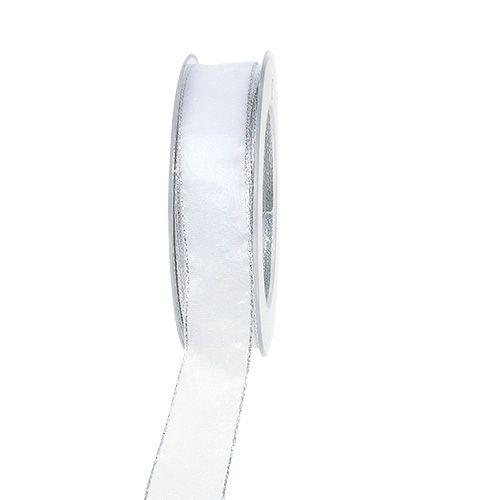 Dekoband Weiß mit Silberkante 25mm 20m