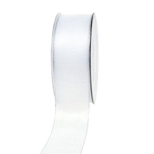 Dekoband Weiß mit Silberkante 40mm 20m