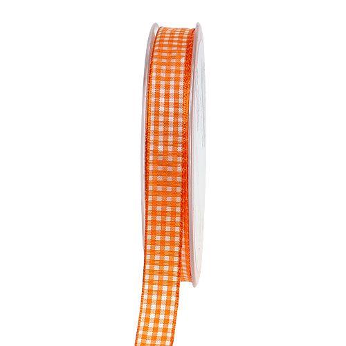 Dekoband kariert in Orange 1,5cm 20m