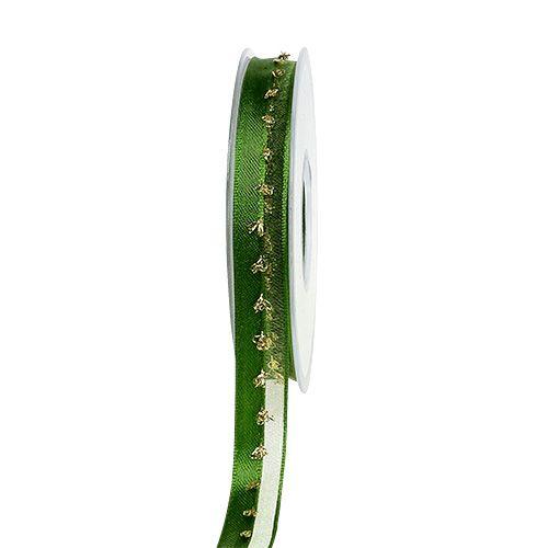 Dekoband mit Lurexverzierung Grün-Gold 15mm 20m