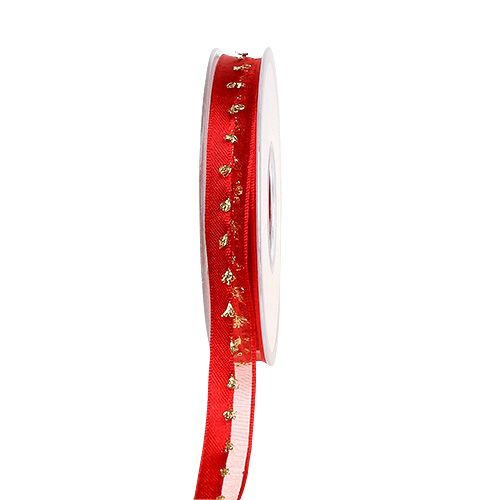 Dekoband mit Lurexverzierung Rot-Gold 15mm 20m