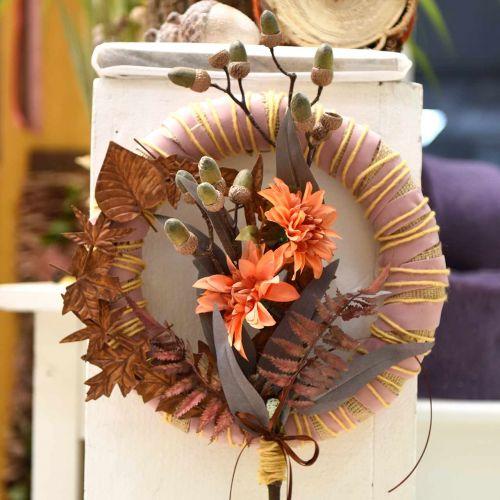 Dekoblume Dahlie, Herbstdeko, Seidenblume Orange 55cm Ø9/11cm