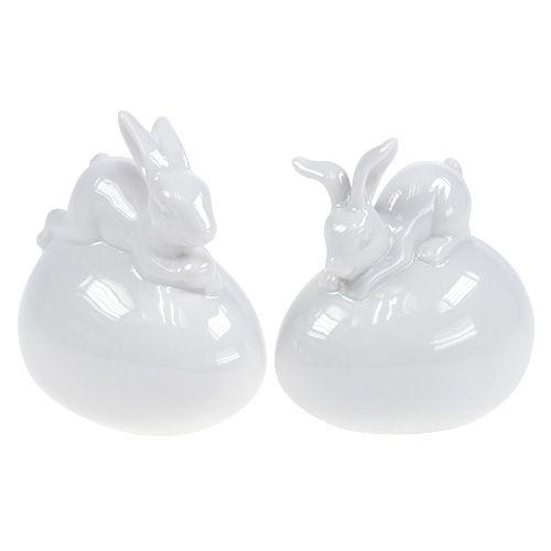 Dekofigur Hase auf Ei Weiß 8,5cm 2St