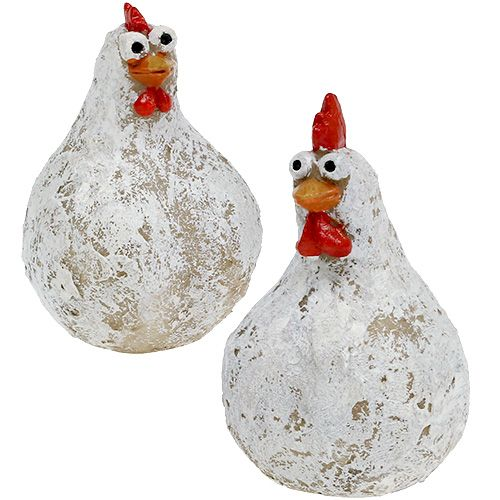 creme 2´er Set Deko Tischdeko Ostern Osterdeko Set Hahn und Henne braun