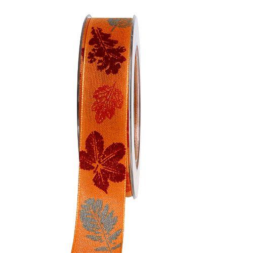 Dekorationsband mit Blättermotiv Orange 25mm 20m