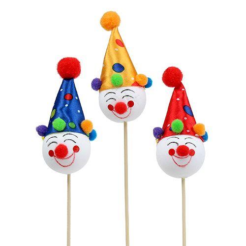 Dekostecker Clown 8,5cm L28,5cm sort. 6St