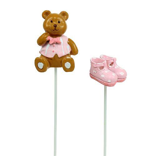 Dekostecker Bär, Schuh Rosa 1,5-4cm 16St