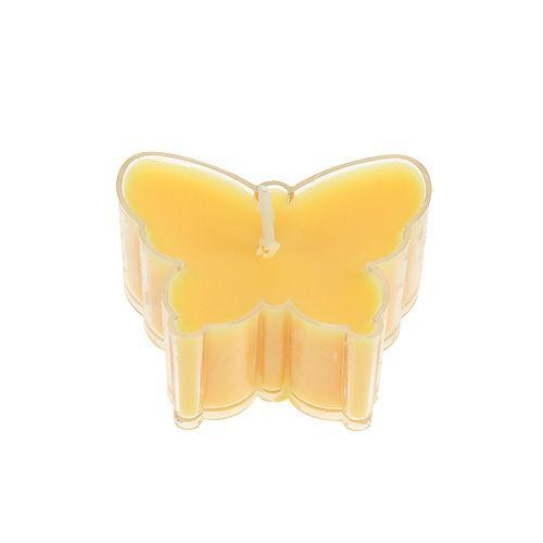 Duftteelicht Schmetterling Ø4,8cm H2cm Gelb 6St