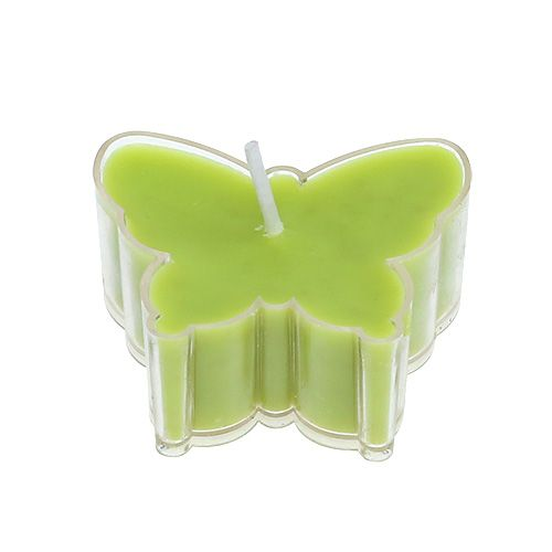 Duftteelicht Schmetterling Ø4,8cm H2cm Grün 6St