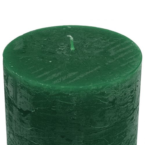 Durchgefärbte Kerzen Dunkelgrün 60x100mm 4St
