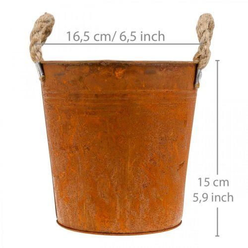 Metalltopf mit Griffen, Kräutertopf, Rostdeko Ø16,5cm H15cm