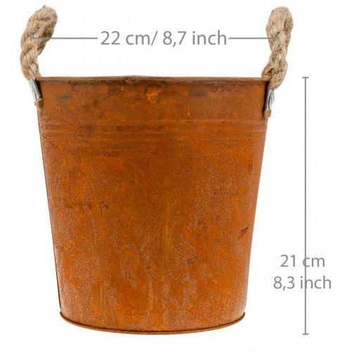 Dekotopf mit Henkeln, Herbstdeko, Metallgefäß mit Edelrost Ø22cm H21cm
