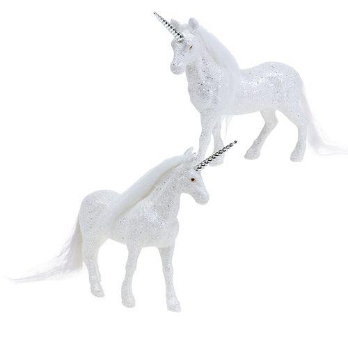 Einhorn Weiß mit Glitzer 18cm 2St