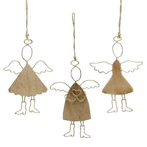 Engel zum Hängen Holz Gold 16cm - 18cm 3St