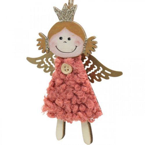 Engel zum Hängen, Weihnachtsdeko, Christbaumschmuck Pink/Rosa/Blau/Weiß H12cm 4er-Set