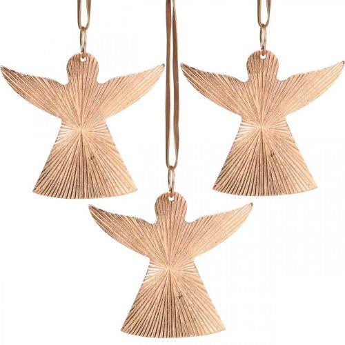 Engel zum Hängen, Adventsschmuck, Metalldeko Kupferfarben 9×10cm 3St