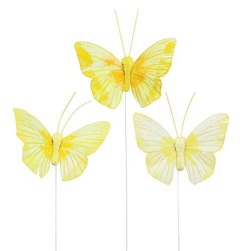 Feder-Schmetterling 10cm Gelb 12St