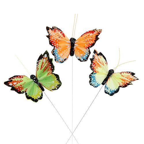 Feder-Schmetterling 9cm sort.12St