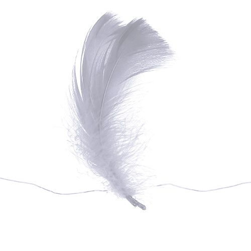 Feder am Draht Weiß 10m