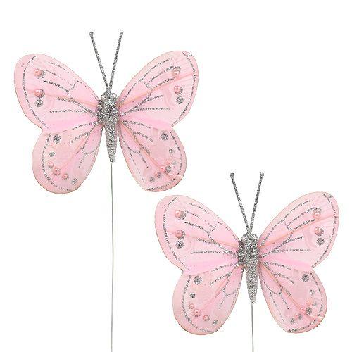 Federschmetterling Rosa mit Glimmer 7,5cm 4St