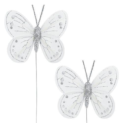 Federschmetterling Weiß mit Glimmer 7,5cm 4St
