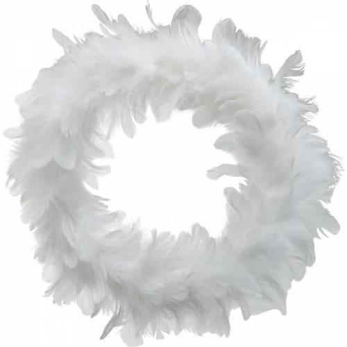 Osterdeko Federkranz groß Weiß Ø40cm Echte Federn