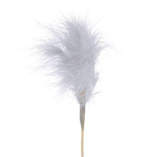Federn zum Stecken Weiß L35cm 12St