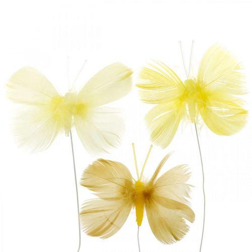 Deko-Schmetterlinge am Draht, Frühlingsdeko, Federschmetterlinge in Gelbtönen 6St