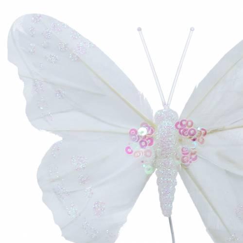 Federschmetterling am Draht 12cm Weiß 3St