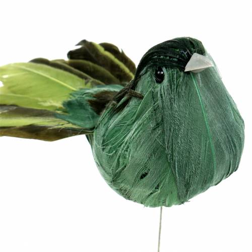 Federvogel am Draht Grün 12cm 4St