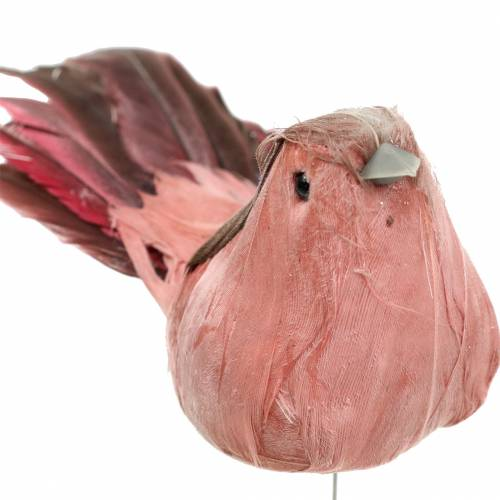 Federvogel am Draht Rosa 12cm 4St