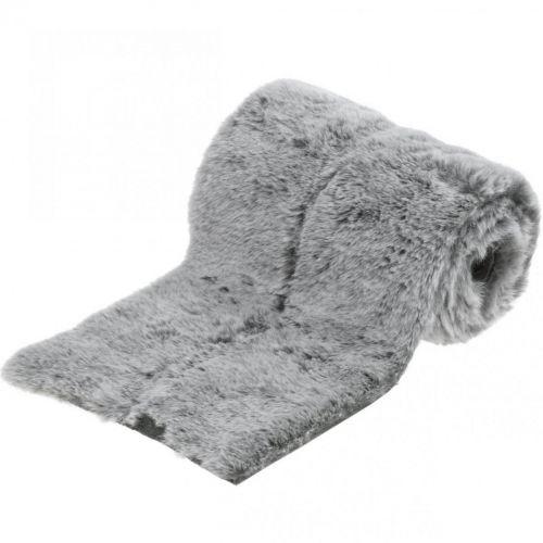 Deko-Fellband Grau Kunstfell zum Basteln Tischdeko 15×150cm