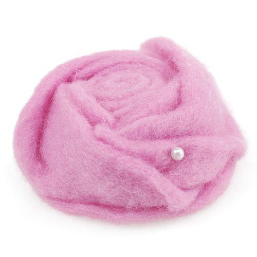 Filz-Rose Rosa Ø6,5cm 9St