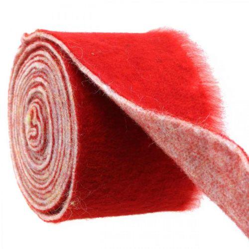 Filzband Deko zweifarbig Rot, Weiß Topfband Weihnachten 15cm×4m