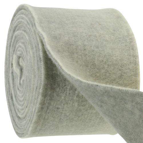 Filzband 15cm x 5m zweifarbig Grau, Weiß