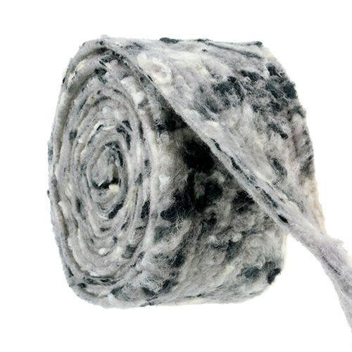 Filzband Happy Schwarz-Weiß 15cm 5m