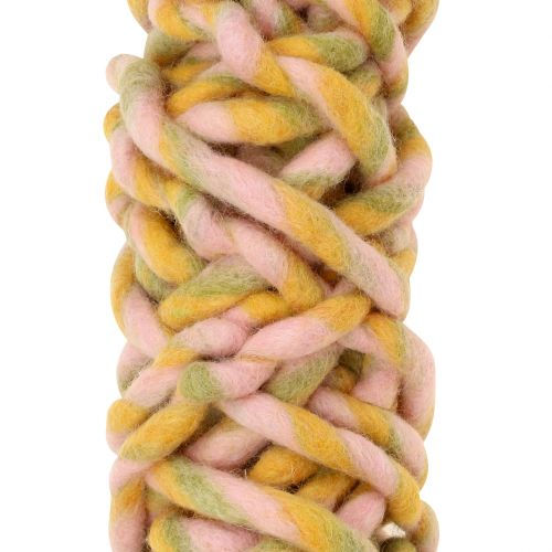 Filzschnur 25m Rosa, Gelb, Grün