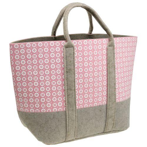 Filztasche Rosa-Grau mit Muster 55cm x 36cm x 18cm