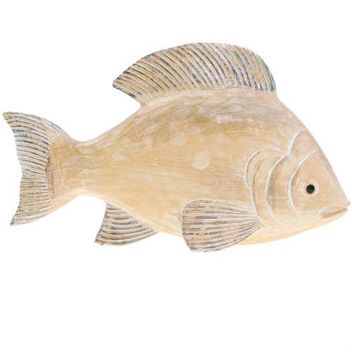 Deko Fisch in Holzoptik Natur L17cm