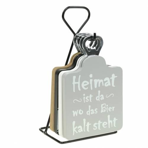 Flaschenöffner mit Sprüchen Holz, Metall Sortiert 4er-Set