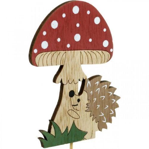 Dekostecker, herbstliche Holzdeko, Igel mit Pilz H11cm L34cm 12St