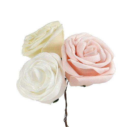 Foamrose Ø7,5cm Weiß, Creme, Rosa mit Perlmutt sort 12St