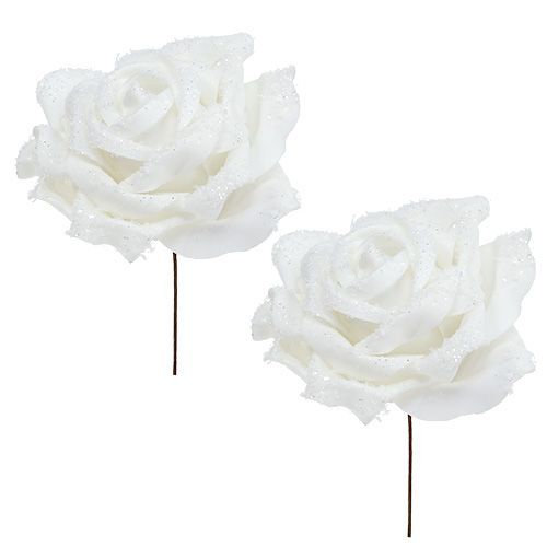 Foamrose Weiß Ø10cm beschneit 6St