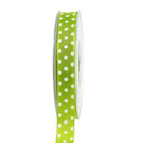 Frühlingsband mit Punkten Limettengrün 15mm 20m