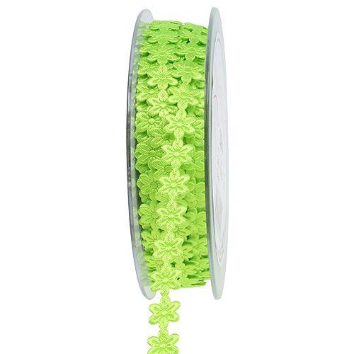Frühlingsband mit Blüte Grün 1cm 20m