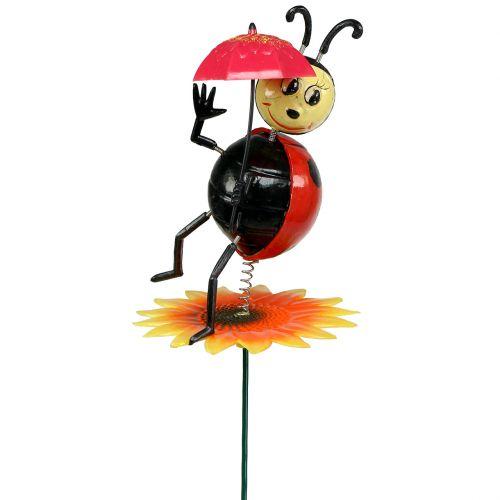 Gartenstecker Marienkäfer mit Schirm am Stab 74cm
