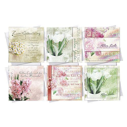 Geburtstagskarten mit Umschlag 10,5cm x 10,5cm 6St